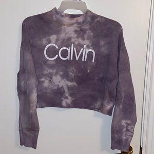 CALVIN performance purple tiedye cropped crew neck